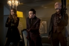 "GOTHAM: L-R: Maggie Geha, Robin Lord Taylor and Anthony Carrigan in ""The Fear Reaper"" episode of GOTHAM airing Thursday, Sept. 28 (8:00-9:01 PM ET/PT) on FOX. ©2017 Fox Broadcasting Co. Cr: Jeff Neumann/FOX."